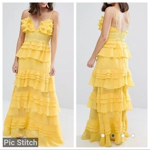 True Decadence Plunge Front Tiered Ruffle Dress